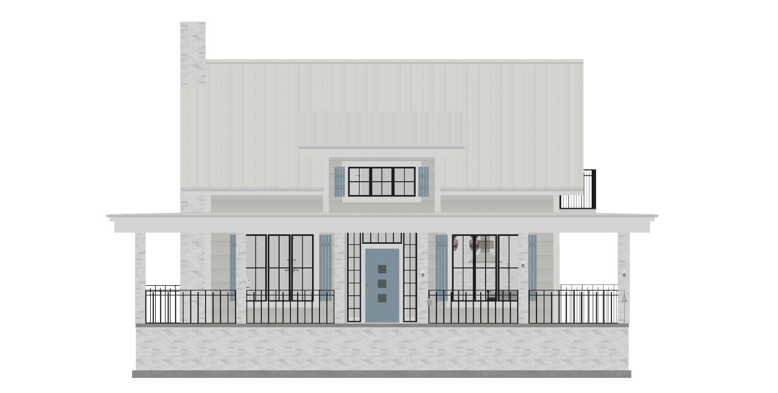 Front exterior elevation of Southern Cottage designed by Bobby McFadden.