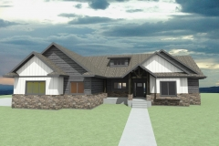 2-story rancher with rustic, timber entry.