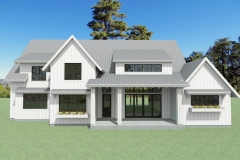 2-story farm house with white siding and a gray, metal roof.