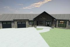 Large, rancher with 2-car garage, gray siding and exposed timber truss over entry.