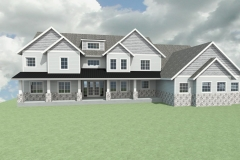 Large farmhouse with gray siding and white trim.