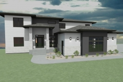 Contemporary house with white and gray siding and black trim.
