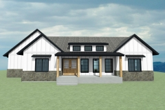 Farmhouse with white siding and a large front porch.