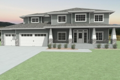 Traditional house with gray siding and white, front porch columns.