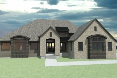 House with curved roof planes and stone facade.