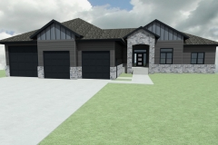 Modern home design with large front entry, featuring blue, black and gray exterior finishes.