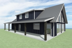 Clerestory farmhouse with front porch overhang.