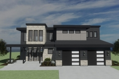 2-story home with black, metal finishes and a shed roof.