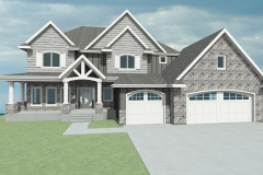 Traditional spec home with gray siding and white trim.