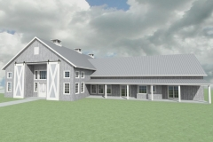 Large, barn home with sliding barn doors and a front porch overhang.