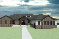 L-shaped rancher with brick facade.