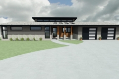 Modern design with clerestory roof and front porch skylights.