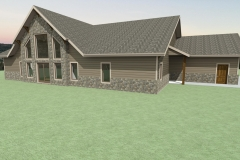 Rustic home with brick siding and vaulted ceiling with large windows.