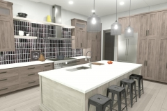 Modern kitchen with wood finish on cabinets and black, tile backsplash.