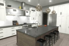 Modern kitchen with white cabinets, gray walls and a large island with wood finish.