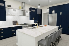 Modern kitchen with dark blue cabinets and white finishes.