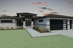 Modern exterior with brick and white lap siding.