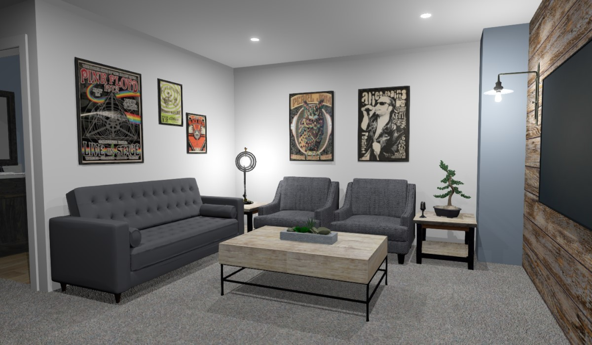 Modern Sound studio with wood paneled wall and birchwood accents