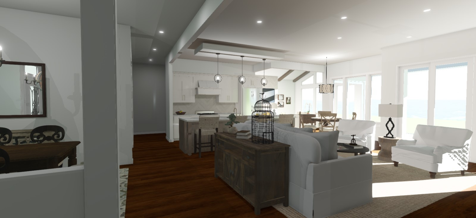 Open living/kitchen area with kitchen pendant lights and natural light