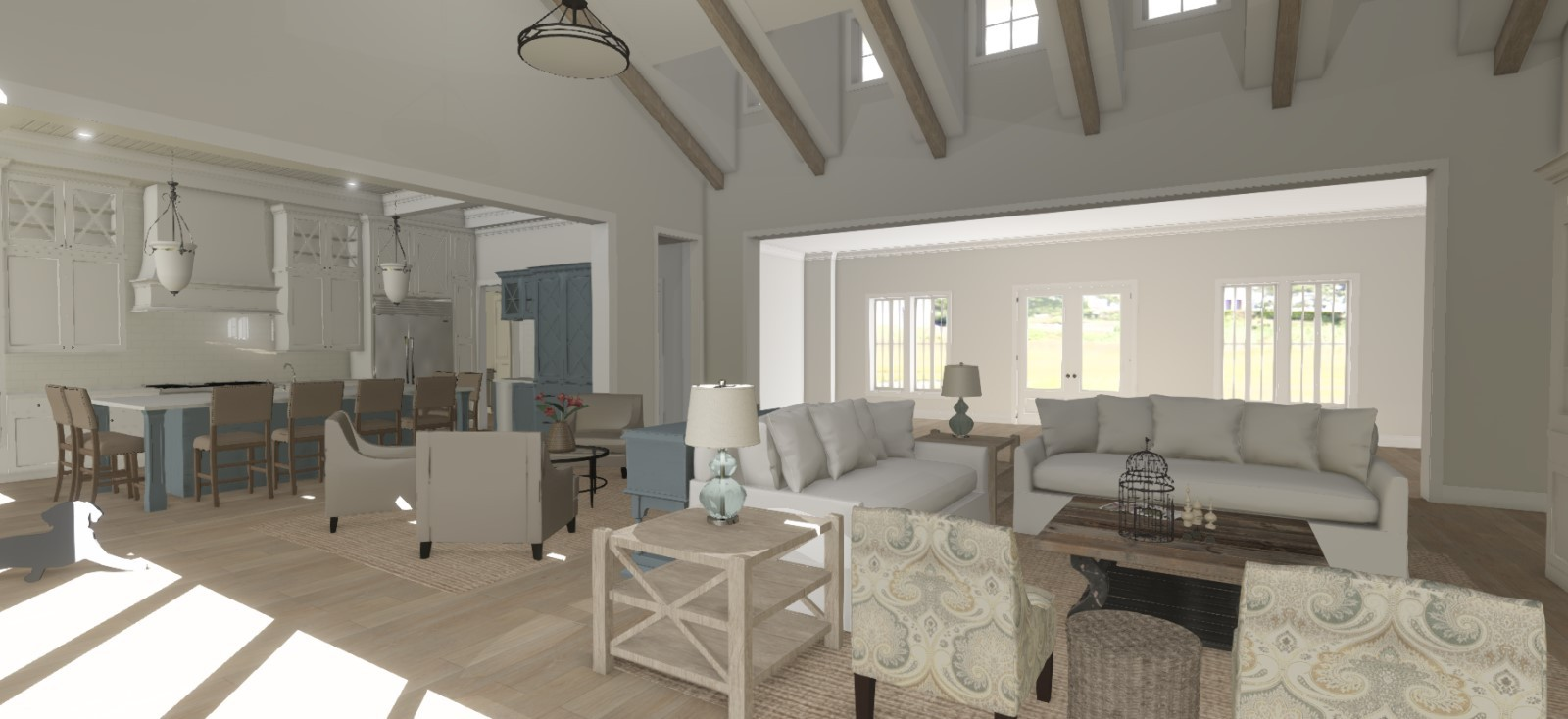 Open living area with vaulted ceiling and exposed trusses