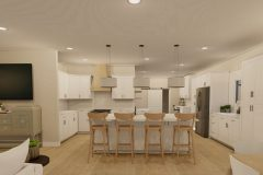 Open concept space with kitchen island