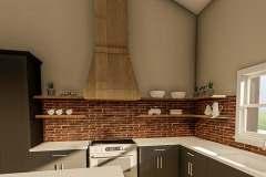 Kitchen design with brick backsplash and floating shelves