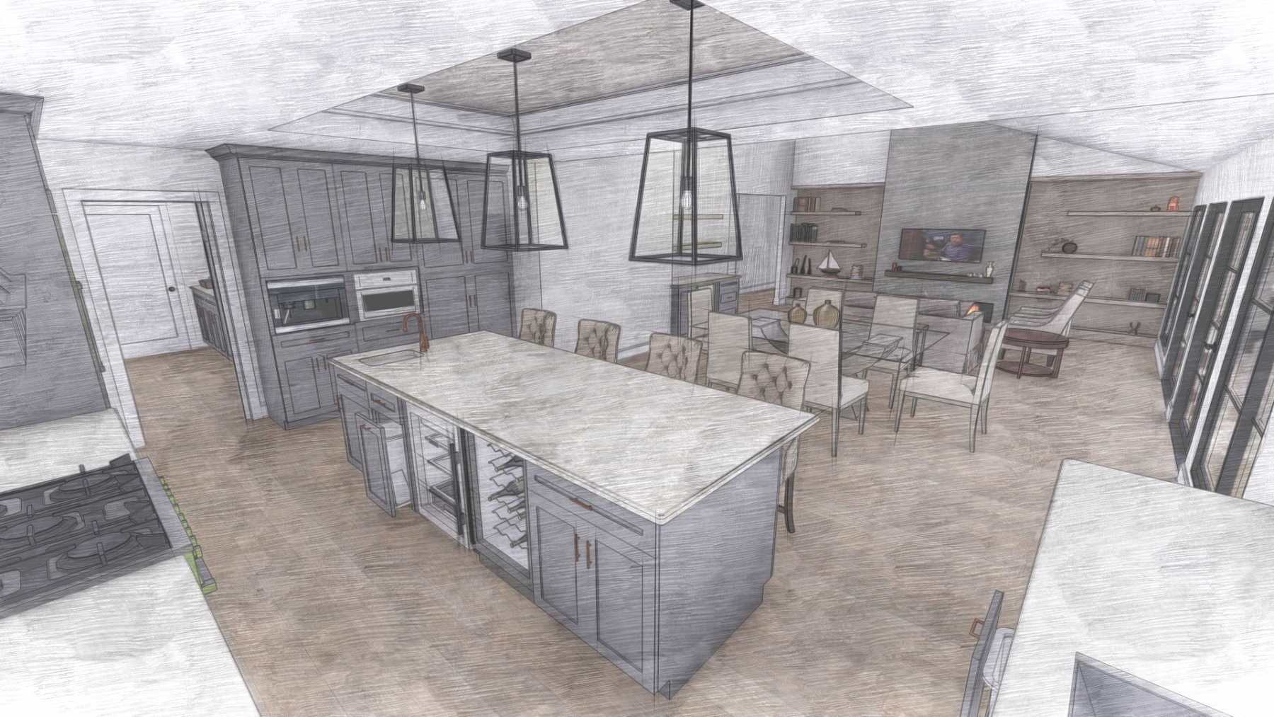 Kitchen with an island and tray ceiling