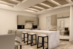 Kitchen with island and a waterfall counter