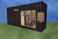 The Cabin- A shipping container home designed with black metal siding and large windows.