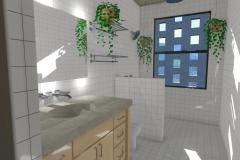 Bright master bath with white subway tile and fresh greenery