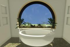 Master bathroom tub with an arched window and garden