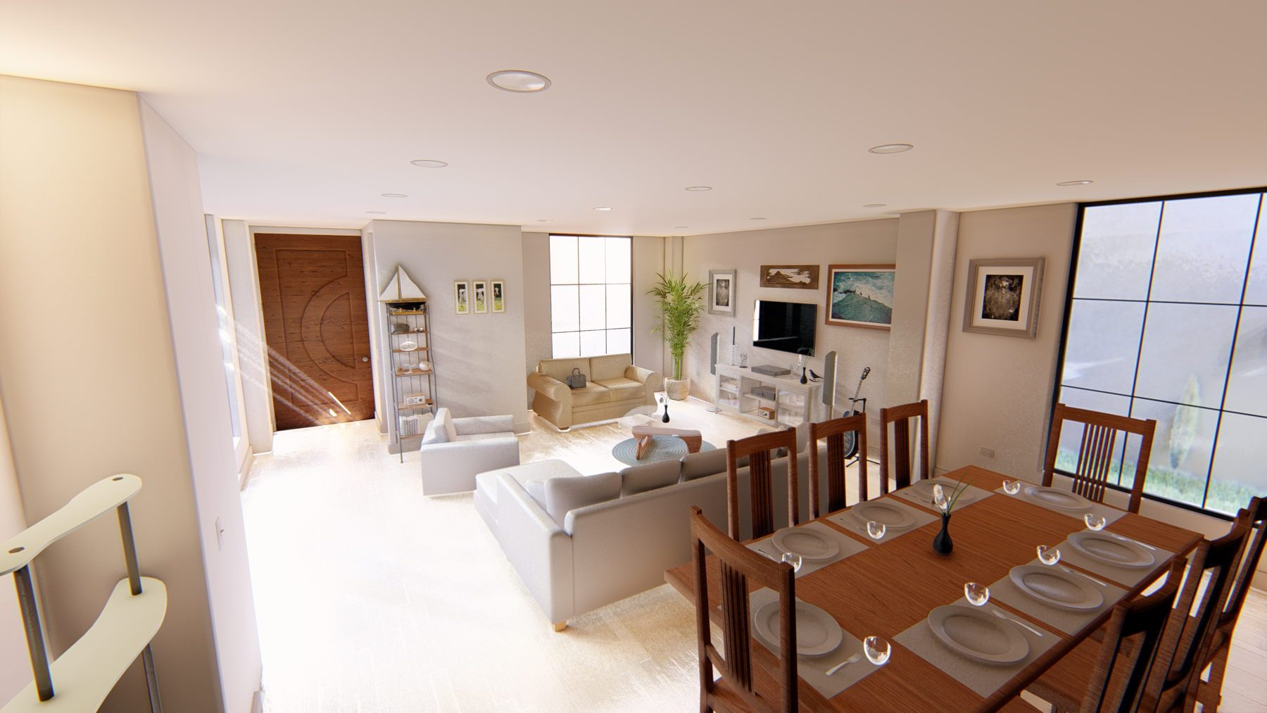Living room space with an open concept