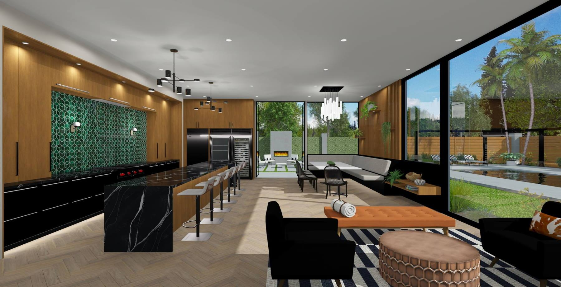 Modern and comfortable design with extra seating at the kitchen island and large open windows for optimal lighting