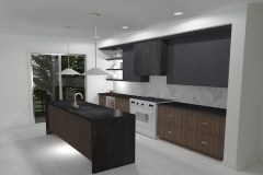 Abe Neufeld's unique kitchen with dark cabinets and light-colored walls.