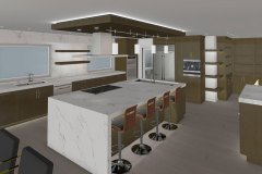 Adam Gibson's Kitchen rendering with a white waterfall countertop island.
