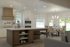 Giuseppe Rispoli's warm kitchen rendering with a kitchen island seating area and spacious dining room.