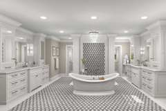 Kelly Collett's Spacious primary bathroom design with custom sconces and beaded inset furniture.