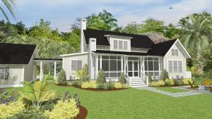 Front Rendering of White Farmhouse with Charming Front Porch Entry