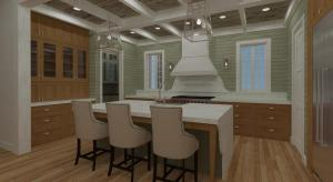 Traditional Kitchen with Waterfall Counter top and coffered ceiling
