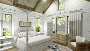 Master Bedroom with vaulted ceiling, exposed trusses, and white ship lap walls.