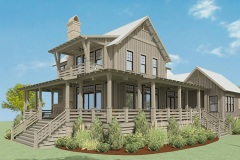 Walnut Cottage Exterior Render showcasing the walk-around porch.