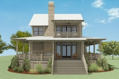 Walnut Cottage Exterior Render showcasing the back porch and walk-out master deck