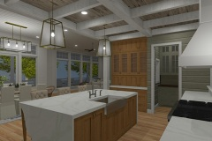 Walnut Cottage Kitchen with Coffered Ceiling and Waterfall Counter Top