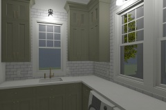 Walnut Cottage Laundry Room with subway tile back splash and lots of counter space