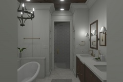 Walnut Cottage Master Bathroom with Claw-foot tub and dual vanity
