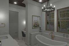 Walnut Cottage Master Bath with Claw-foot Tub