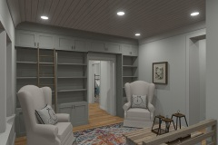 Walnut Cottage gallery room with custom book shelf storage