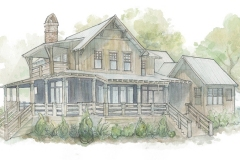 Hand-painted watercolor of the exterior of the Walnut Cottage, by artist Adam Trest.