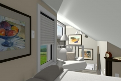 Bedroom with angled ceiling, accordion blinds and reading corner.