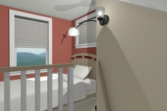 Bunk bed with wall mounted reading light, accordion blinds and red accent wall.